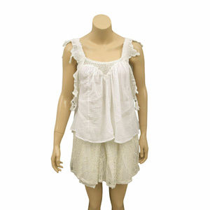 1080 Free People Lace White Cotton  Tank Top M